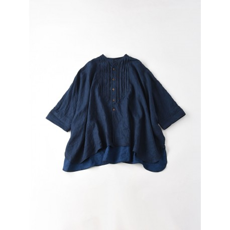 Indigo Linen Pintuck Big Shirt