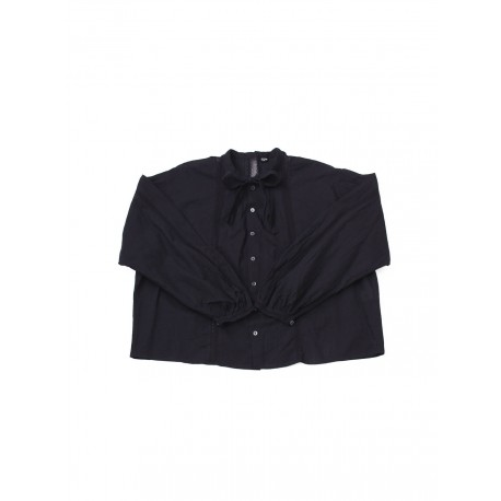 Khadi Lace Ribbon Blouse Black
