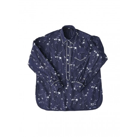 Indigo Khadi Small Flower Print Blouse