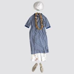 Sunny Monday ☀️ Indigo Border Jersey Puff Sleeve DressDiscover the latest arrivals on our online shop : 45r.fr@45r_official #45R #45r_official #45rpm #45rparis #su21 #summer #japon #paris #dress #indigo #stripes