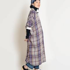 Flannel Checked Big Shirt Dress Gray Checked / Beige Checked / Navy Checked#madeinindia #45R #45r_official @45r_official