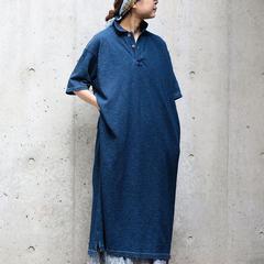 Indigo Zimba Pique Polo Dress Indian Linen DressModel 159cm Wearing size 0-free - - - - - #45R #45r_kansai #indigo #polo #onepiece #5045092 #5045084 @45r_official @45r_nishinihon