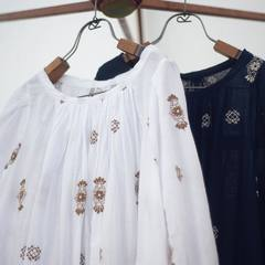 DOAMA HIRA EMBROIDERY DRESS! This dress is made of plain-weave fabric with a sweetly woven second coat. It is soft and comfortable to the touch, like gauze. Delicate embroidery on all sides is a key point. The silhouette is soft and fluffy with gathers around the neck. Enjoy the natural color of the indigo dyeing process. Come and discover it in our shops! It is even more beautiful in real! Check our new items and how our designer would wear the new collection look on 45R ONLINE shop (Link in bio). Shipping is free of charge for EU 🚛 #45R #45RPM #jeans #indigo #cotton #madeinjapan #45r_official #fashion #45rparis #paris #tokyo #japan #france #lemarais #sainthonore #saintgermain #organiccotton #summervibes #ootd #organiccotton #藍染 #夏コーデ #spring #summer #aiindigo #ai