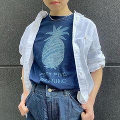 Indigo Pineapple Print T-shirt 180th Miko 908 Ocean Button down shirtModel 153cm Size T-shirt 1-S, Shirt 3-M, Denim 2-S- - - - -#45R #45r_tokyo #高島屋日本橋 #spring #indigo #8037073 #5013090 #8036079 @45r_official @45r_tokyo