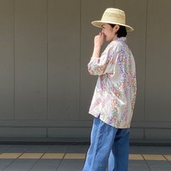 Tencel Lei Lei Aloha 908 ShirtModel 158cm Wearing size 2-S@45r_nishinihon @45r_official #45r_official #45R #aloha #summercollection #unisexstyle