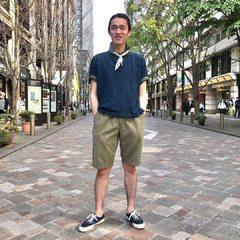 Indigo Zimba Kanoko 908 Ocean Polo Model 183cm Wearing size polo shirt 4-L - - - - - #45R #45r_tokyo #丸の内 #二重橋スクエア #4047289 #4047287 #8046082 @45r_official @45r_tokyo
