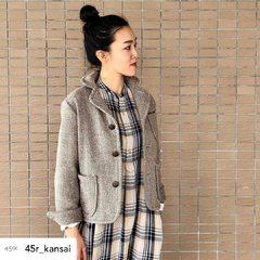 Indian Flannel Big Shirt DressModel 169cm Size Jacket : 2, Dress : 0 free----- #45R #45r_paris #45r_kansai #大丸梅田 #womanfashion #5111024 #8105030 @45r_official