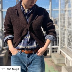 Discover our winter collection 🐑 Shetland wool, merino cashmere... new items are now available on online shop !Cotton Shetland 908 Tyrolean Jacket Indigo Twill Double Woven Ocean ShirtModel : 161cm Size : Jacket 2-M Shirt 1-S -----#45r #45r_tokyo #北千住ルミネ #fashion #jacket #shirt #5101045 #5103056 @45r_tokyo