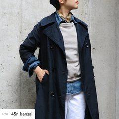 Enjoy layering style for Autumn 🍂 Take a look the coordinate of 45R staff in Kyoto!Ai Nando Satin AKIYA Coat Urake Cotton Puff Sleeve Sweat Okome Denim Charlotte WhiteModel : 159cm Size Coat 1-S、Denim 1-27inch - - - - - #45R #denim #indigo #8082005 #8096038 @45r_official @45r_kansai