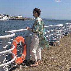 Tencel Lei Lei Aloha 908 Ocean Smock Dress Available in beige/ salmon/ mintModel 169cm Wearing size 2-S@45r_nishinihon @45r_official #45r_official #45rparis #45rpm #madeinjapan #summervibes #SU21 #aloha