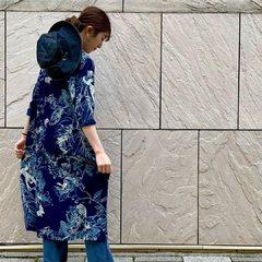 Indigo Jersey Aloha Print Umahiko DressModel 159㎝ Wearing size 0-free size - - - - -#45R #45r_kansai #7045089 #5039110 @45r_official @45r_nishinihon