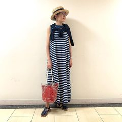 Indigo Jersey Border No Sleeve Maxi DressThe model is 165cm tall and she is wearing size 0-free@45r_official @45r_tokyo #45R #45r_official #45rpm #45rparis #su21 #summer #paris #japon #dress #indigo #stripes #5055110