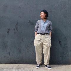Khadi Bigoogoo shirtModel 155cm Wearing size 1-XS- - - - - #45R #45r_official #45r_hokkaido_tohoku #fashion #coordinate #7043118 #8036077 @45r_official @45r_hokkaido_tohoku